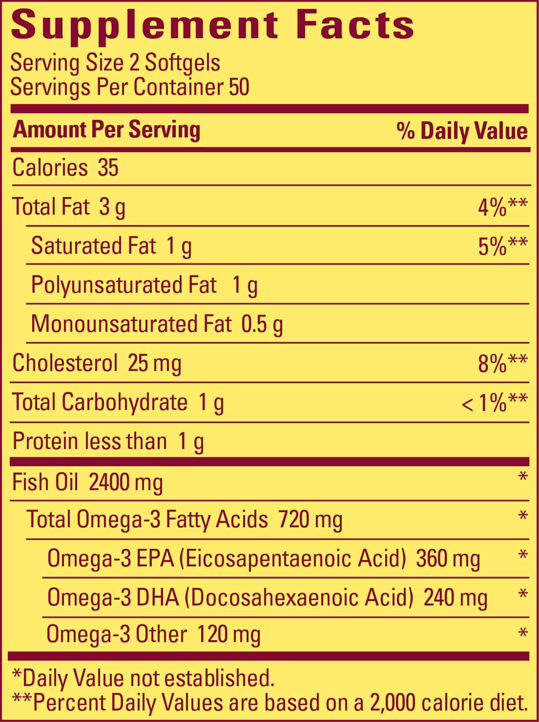 Bảng thành phần của viên uống dầu cá omega 3 Nature Made Fish Oil